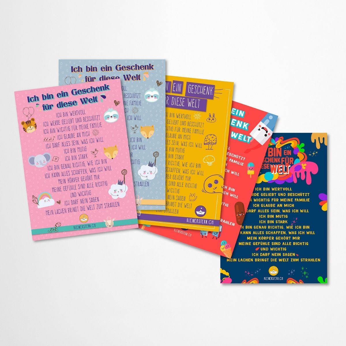 Postkarten mit positiven Affirmationen für Kinder