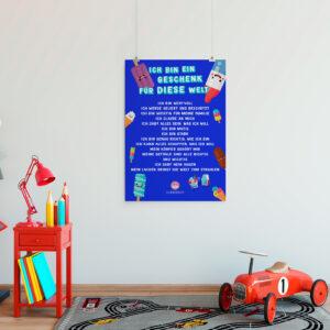 Poster mit positiven Affirmationen für Kinder Eis blau