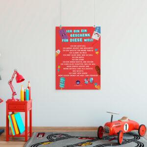 Poster mit positiven Affirmationen für Kinder Eis rot