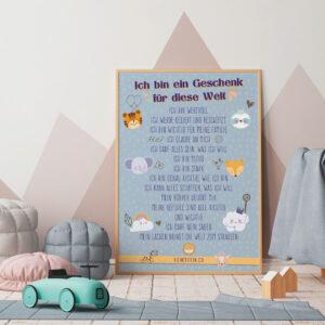 Poster Affirmationen SWEET blau