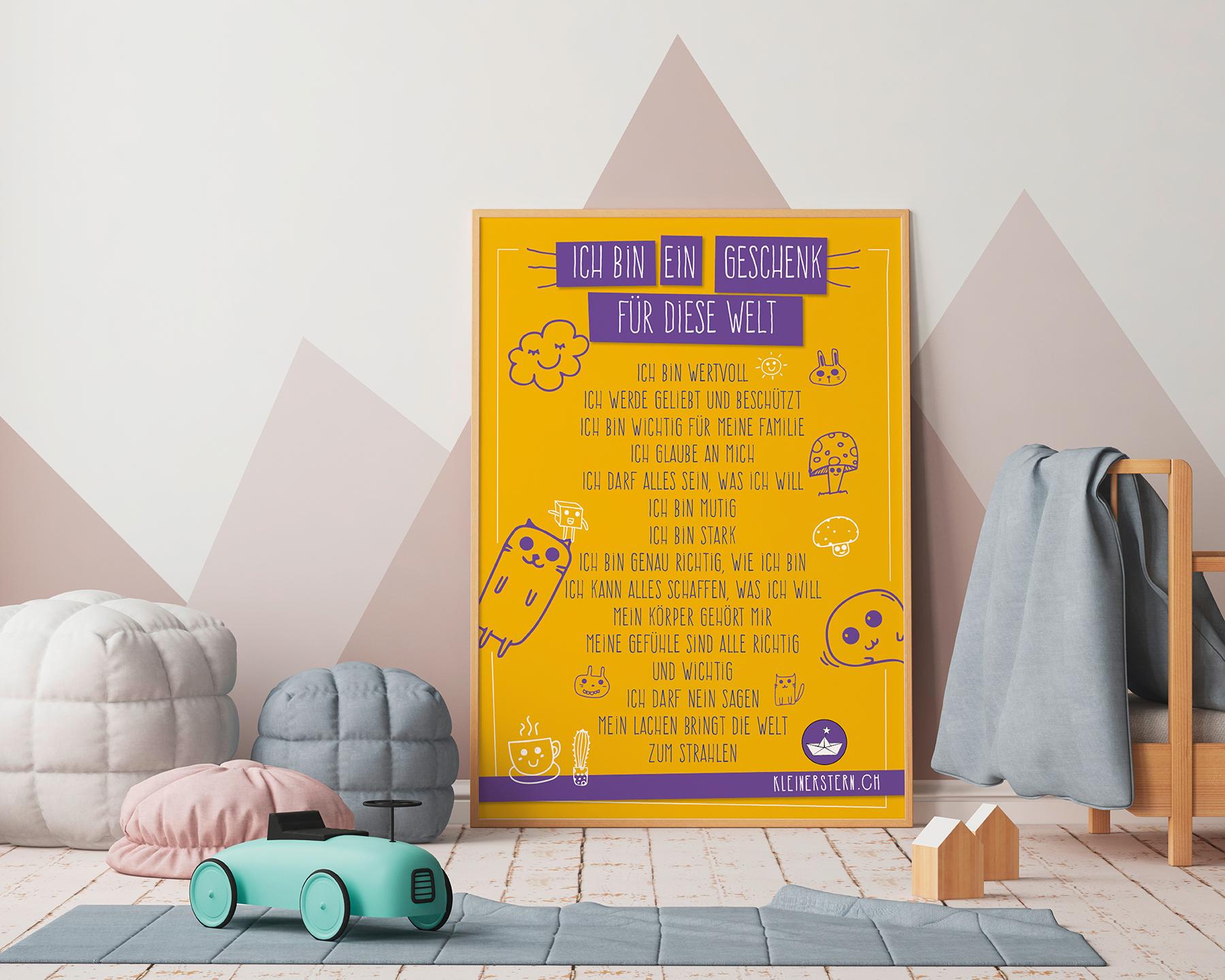 Poster mit positiven Affirmationen Icons gelb
