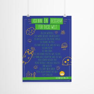 Poster mit positiven Affirmationen Icons blau